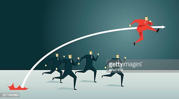 stockillustraties, clipart, cartoons en iconen met individuality, running, competition, pursuit, striding, first place, winning, success - achtervolging begrippen