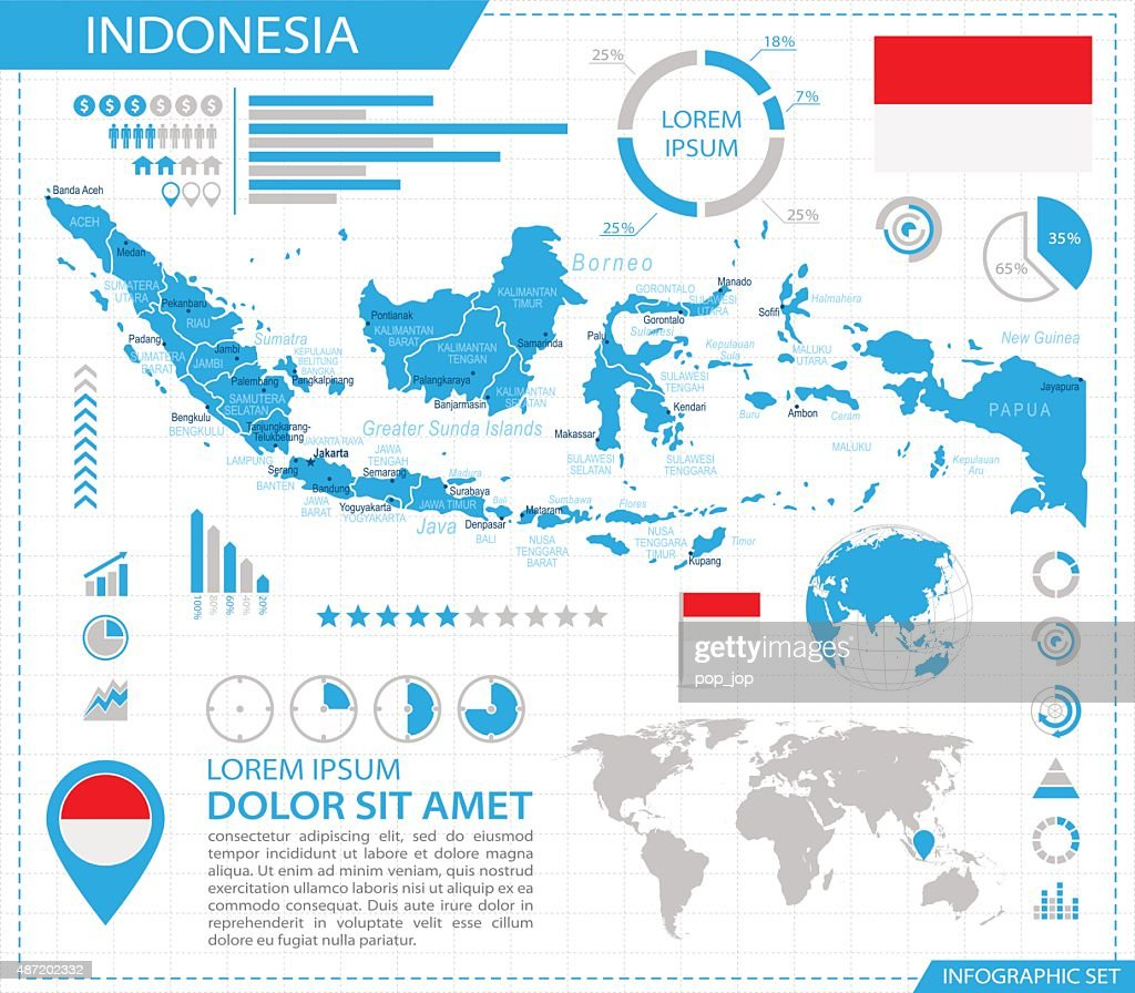 Indonesia - infographic map - Illustration