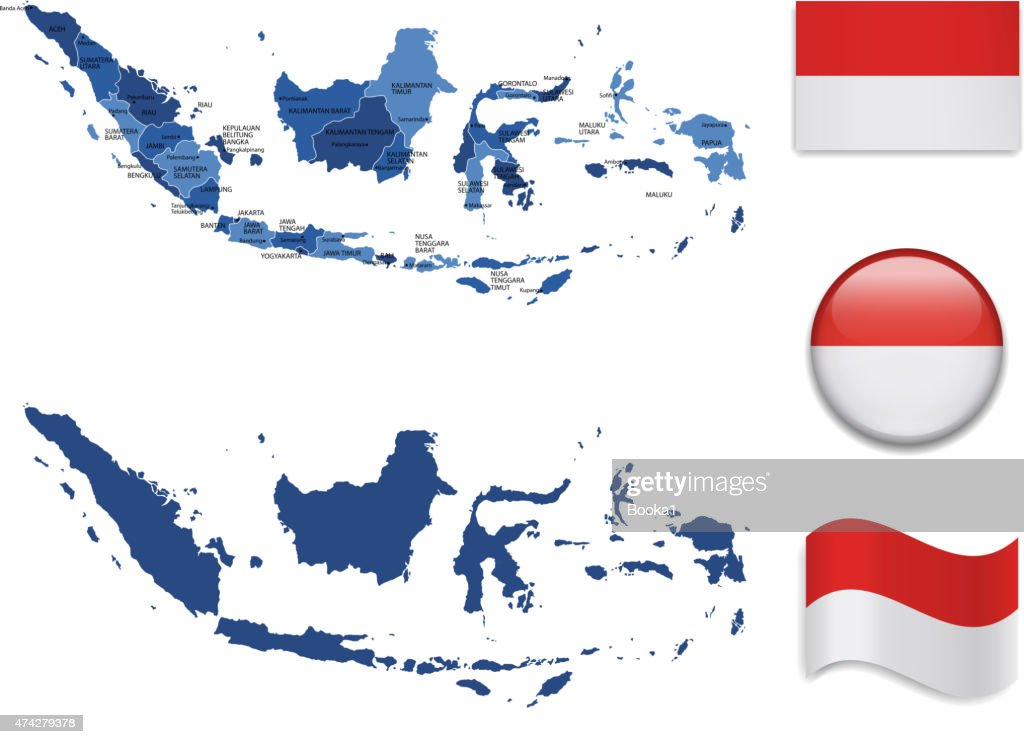 Indonesia Map and Flag Collection