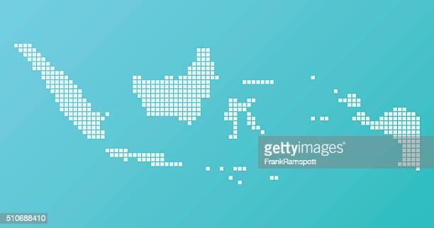 Indonesien Karte Grundlegende Platz Muster Türkis Horizontale