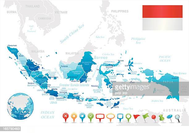 Indonesia map blue - regions, cities, navigation icons