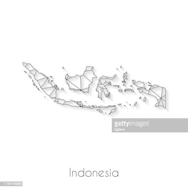 illustrazioni stock, clip art, cartoni animati e icone di tendenza di connessione mappa indonesia - mesh di rete su sfondo bianco - indonesia
