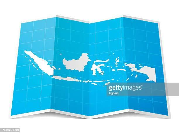 Indonesien Karte gefalteten, isolierten auf weißen Hintergrund