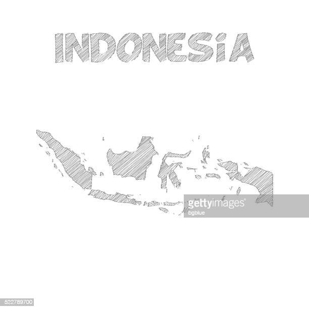 Indonesia map hand drawn on white background
