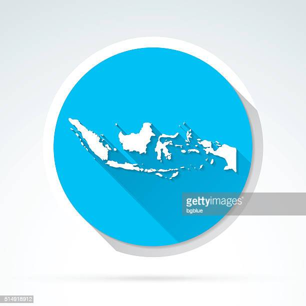 Indonesia map icon, Flat Design, Long Shadow