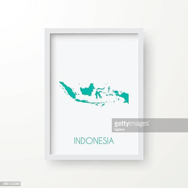 インドネシアマップのフレームを白背景