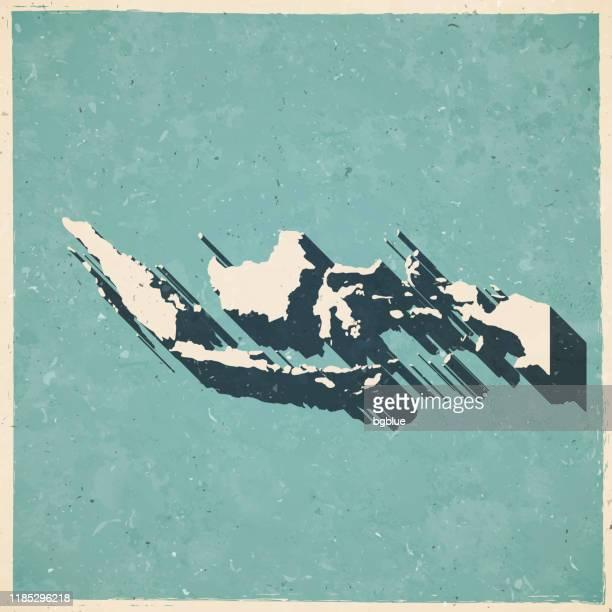 illustrazioni stock, clip art, cartoni animati e icone di tendenza di mappa indonesia in stile vintage retrò - vecchia carta testurta - indonesia