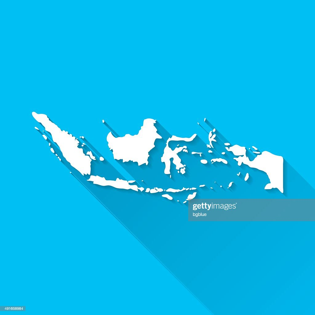 Indonesia Map on Blue Background, Long Shadow, Flat Design