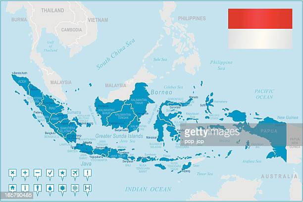 Indonesia map - regions, cities and navigation icons