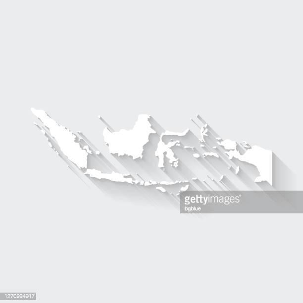 illustrazioni stock, clip art, cartoni animati e icone di tendenza di mappa indonesia con lunga ombra su sfondo vuoto - flat design - indonesia