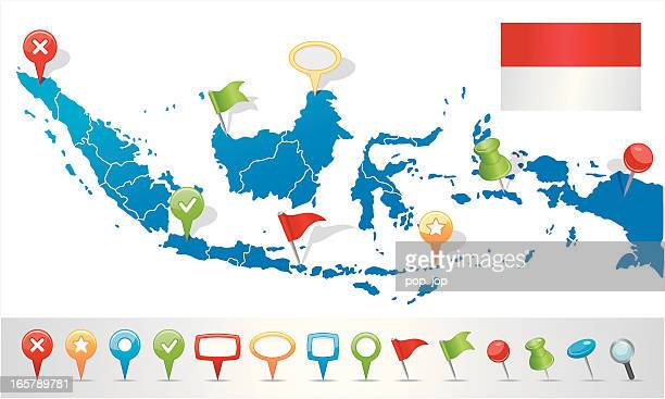 Indonesia map with navigation icons