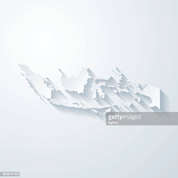 Indonesia map with paper cut effect on blank background