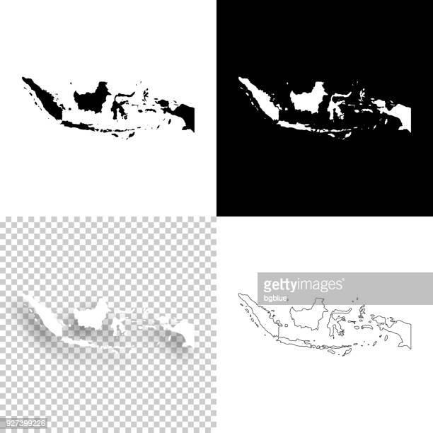 Indonesia maps for design - Blank, white and black backgrounds