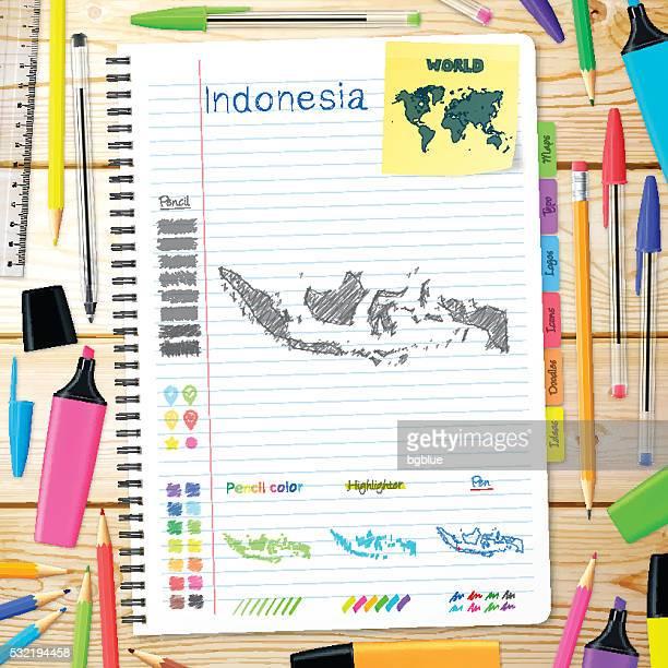インドネシアの上に手描きされた地図ノートます。木の背景