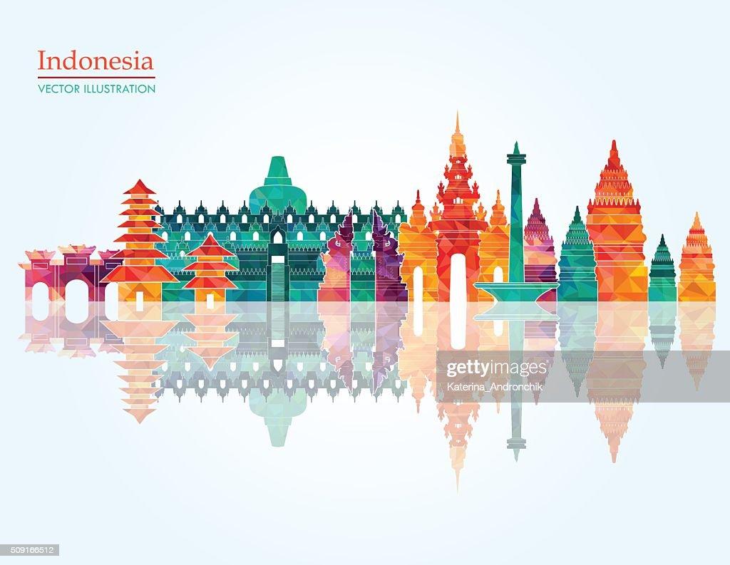 Indonesia skyline. Vector illustration