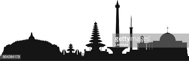 indonesia (complete, detailed, moveable buildings) - temple building stock illustrations, clip art, cartoons, & icons