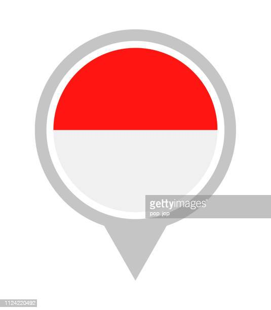 Indonesia - Vector Round Flag Pin Flat Icon