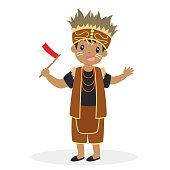 Indonesian Boy Wearing Papua Traditional Dress.