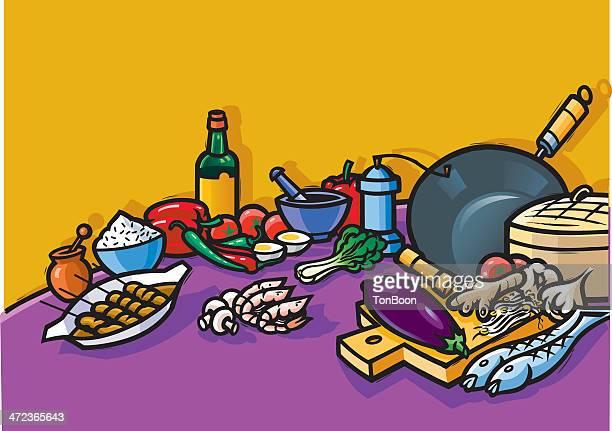ilustrações, clipart, desenhos animados e ícones de cozinha indonésia - bok choy