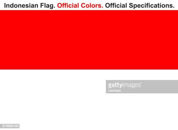 illustrazioni stock, clip art, cartoni animati e icone di tendenza di bandiera indonesiana (colore ufficiale e specifiche) - indonesia