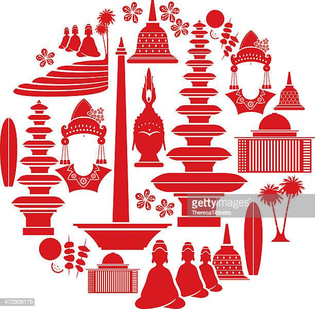 indonesische icon-set - indonesien stock-grafiken, -clipart, -cartoons und -symbole