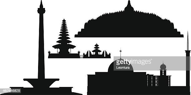 indonesian monuments - temple building stock illustrations, clip art, cartoons, & icons