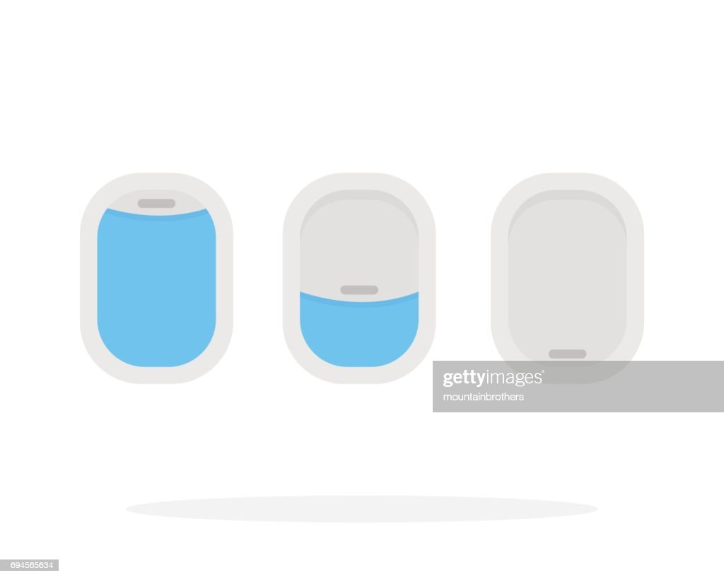 Indoor and outdoor airplane window vector flat material design isolated object on white background.