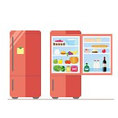 Indoor and outdoor refrigerator with food. Sticker for notes on the door. Dairy and vegetables, cake and wine, eggs and fruit. Vector, illustration in flat style isolated on white background EPS10.