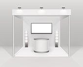 Indoor exhibition Booth Stand with Counter Spotlight Screen Brochure Holder