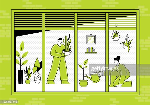 indoor gardening - watering can stock illustrations