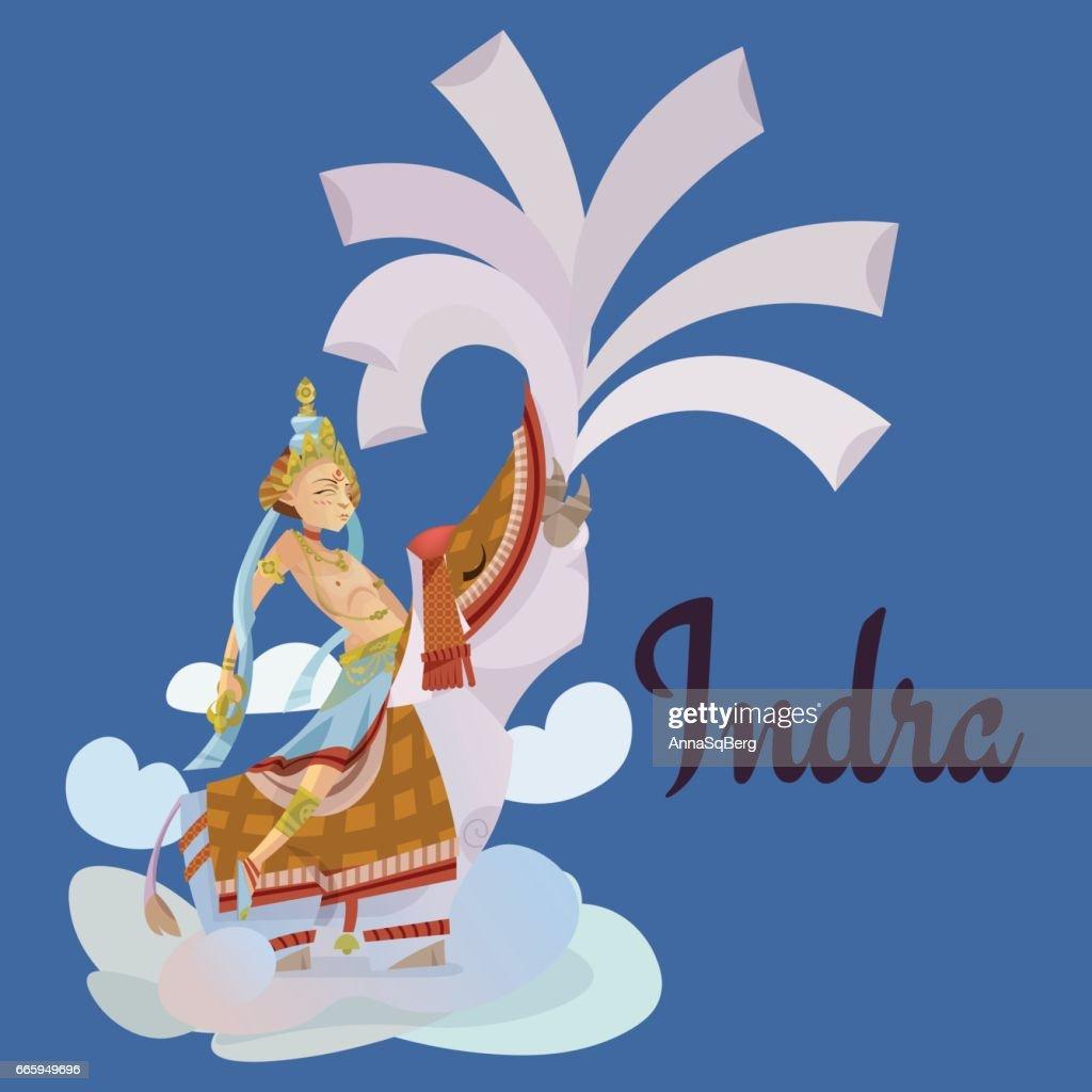 Indra sitting on elephant hindu gods Invitation cards Dawali Holiday vector illustration