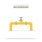 Industrial background with yellow pipeline and valve. Oil, water or gas pipelines.