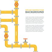 Industrial background with yellow pipeline. Oil, water or gas pipeline with fittings and valves.