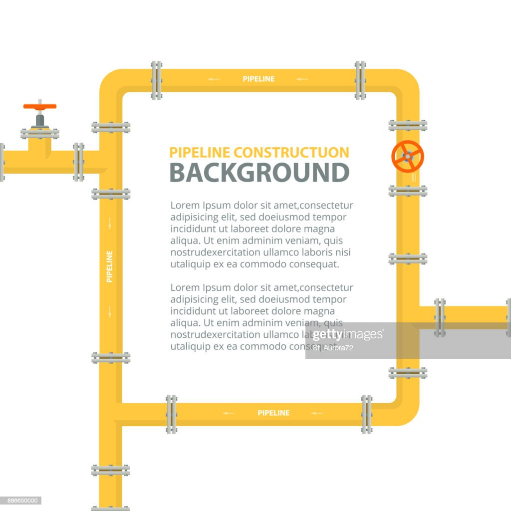 Industrial background with yellow pipeline. Pipes in shape frame for text.