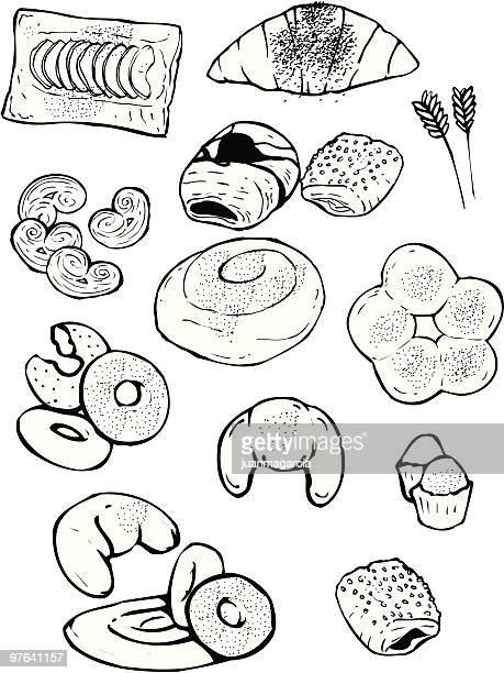 illustrations, cliparts, dessins animés et icônes de industrial boulangerie: ensaimadas, croissant, palmiers, des beignets, des petits pains. - galette des rois