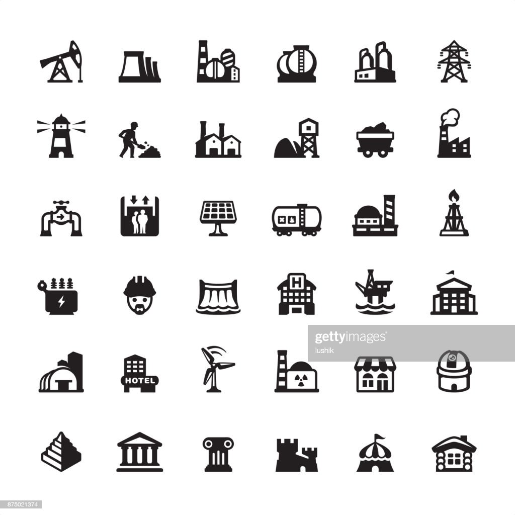 Industrial Building and Construction - icons set : stock illustration