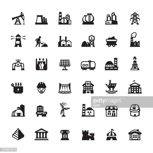Industrial Building and Construction - icons set
