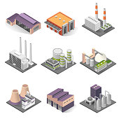 Industrial building and factory architecture sometric set
