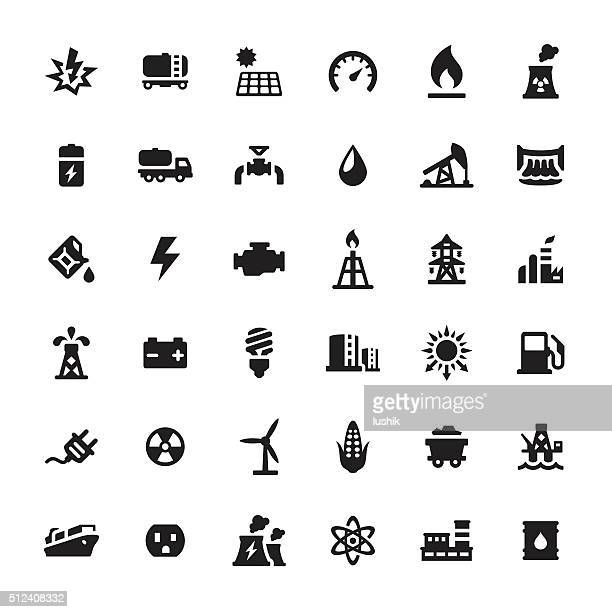 industrial building and power generation vector icons - radioactive contamination stock illustrations