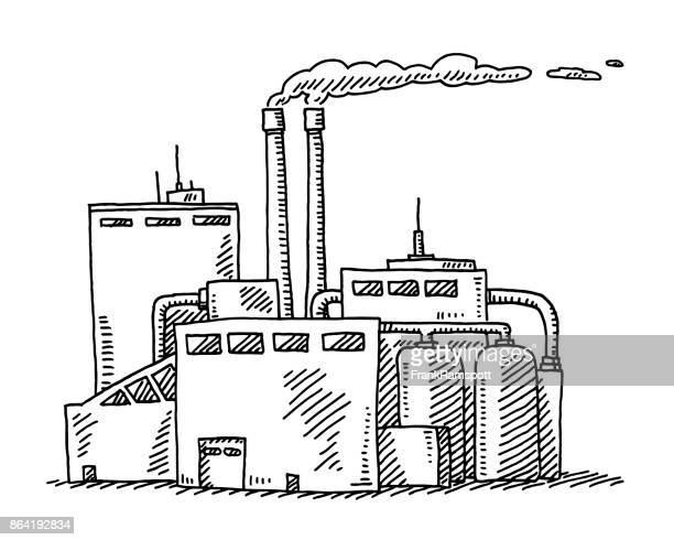 illustrations, cliparts, dessins animés et icônes de dessin de bâtiment industriel - pollution