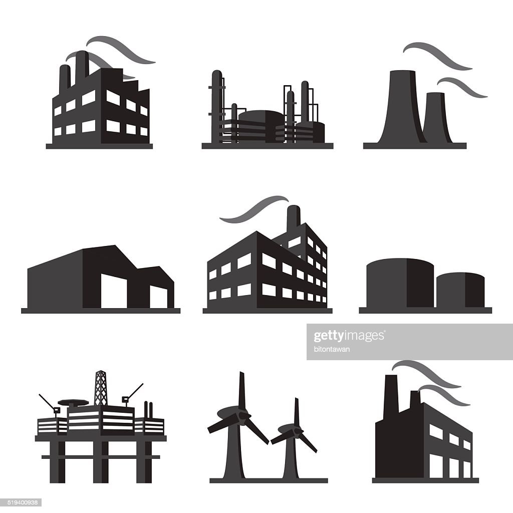 Industrial building factory icon set