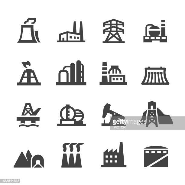 industrial building icons - acme series - nuclear energy stock illustrations