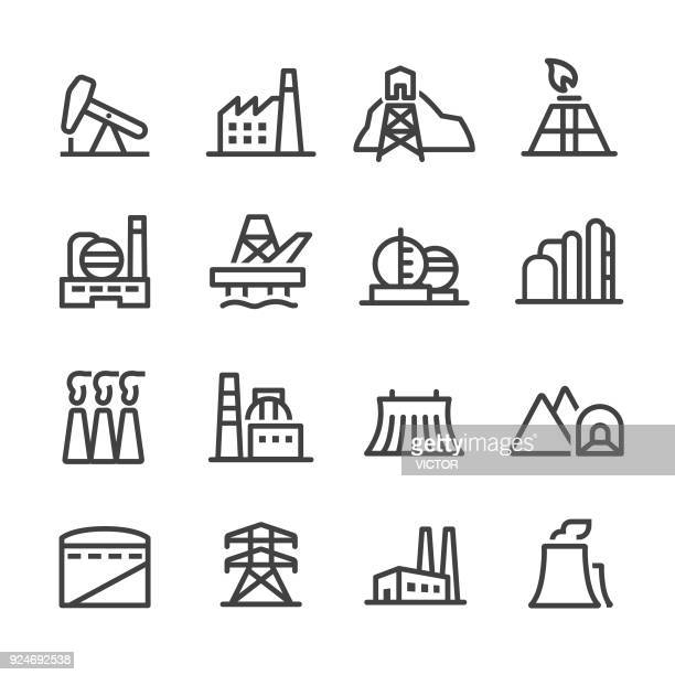 industrial building icons - line series - plant stock illustrations