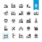 Industrial buildings and construction related vector icons
