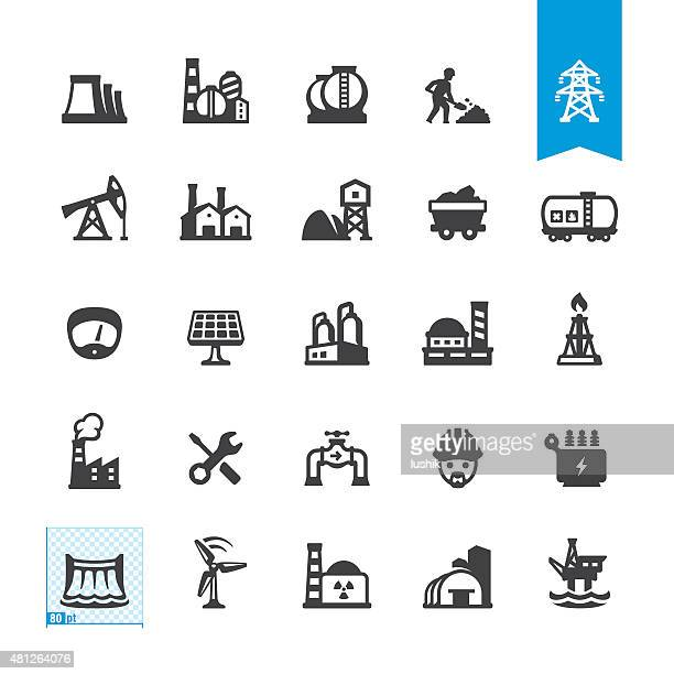 industrial buildings and construction related vector icons - fuel station stock illustrations, clip art, cartoons, & icons