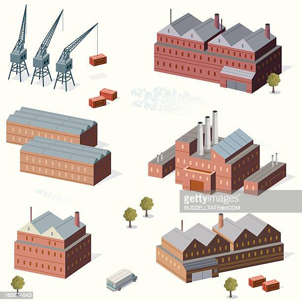 industrial buildings and cranes - water treatment stock illustrations, clip art, cartoons, & icons