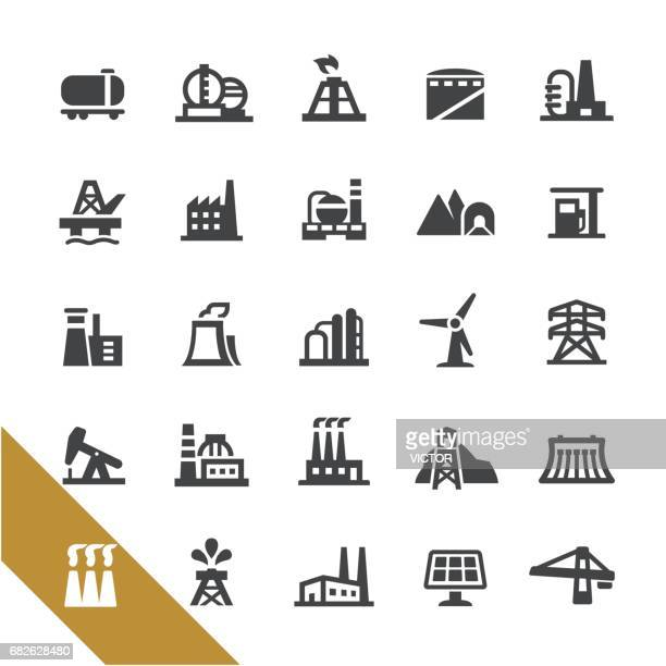 industrial buildings icons - select series - nuclear energy stock illustrations