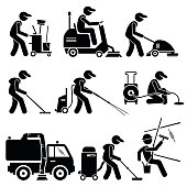 Industrial Cleaning Worker with Tools and Equipment Illustrations