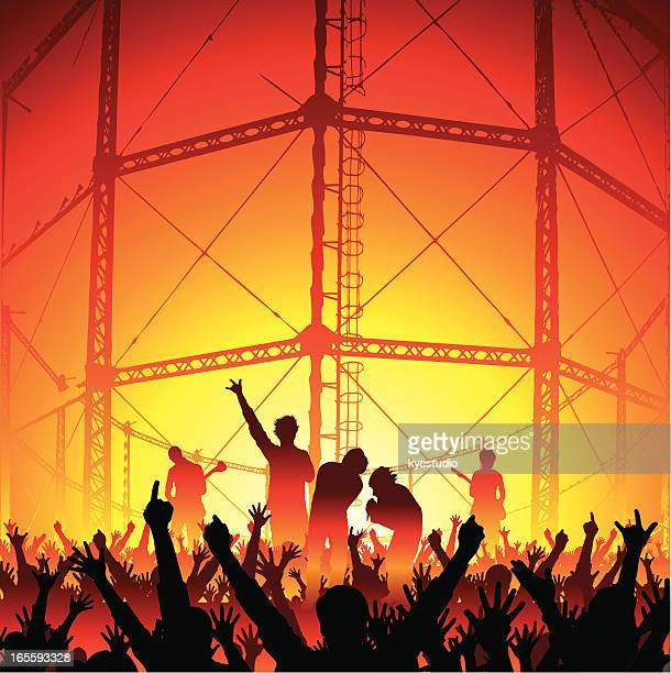 industrial concert with cheering fans - modern rock stock illustrations