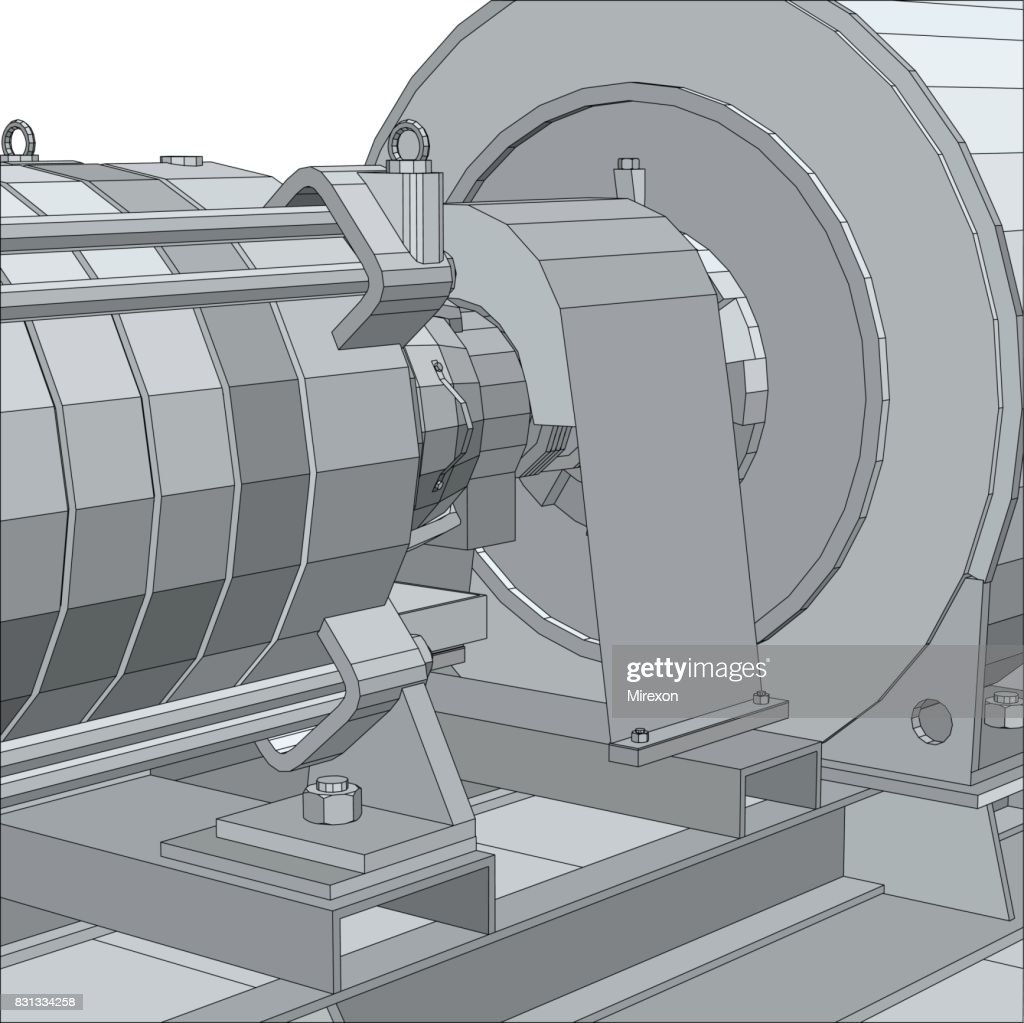 Industrial equipment. Electrical engine. Wire-frame. EPS10 format. Vector rendering of 3d.